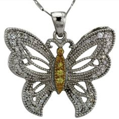 Platinum Diamond and Sapphire Butterfly Pendant Da'Carli. $2450.00. Free Standard Shipping with this item!. Call 1(888) 527-9422 for a different combination of gemstones, 18k, Yellow Gold, or Platinum. When calling, please, provide the model number: 11760ALT03. This Pendant is set with 38 GH-SI diamonds weighing 0.29 ct. The Pendant is accented with 3 yellow VS sapphires with a total weight of 0.06 ct. (All diamonds 0.75 and up with a color range of D-I are GIA Certified). 1...