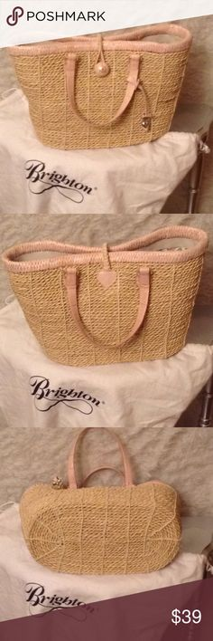"Brighton straw wicker pink heart tote purse bag Brighton straw with pink leather tote/purse. The purse measures 12""X9"" and is in great condition. The purse comes with heart hang tag and dust bag. Smoke free home. Brighton Bags Totes"
