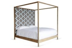 Strugess Printed Upholstered Bed, Blue
