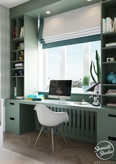 A Scandinavian Chic Style 3 Bedroom Apartment For A Young Family The young and fresh decor style in this Scandinavian apartment has a distinctly chic look to it. Patterned tiling, herringbone floors and statement lighting. Home Office Space, Home Office Design, Home Office Decor, Home Decor Bedroom, Modern Bedroom, Office Spaces, Bedroom Furniture, Scandinavian Apartment, Scandinavian Style