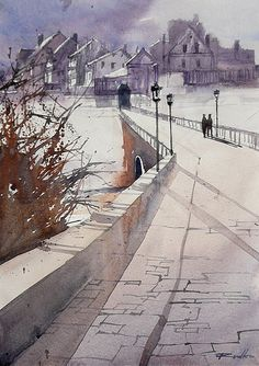 Rafal Rudko    watercolor:  This is careful planning to allow the white paper to speak for the subject.  In this case, the sharp division of the wall stops the white from looking like a cotton ball in the foreground, and it drags your eye deeper into the painting.