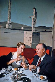 Vera Miles & Alfred Hitchcock having dinner