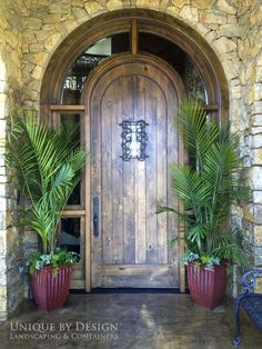 Container Gardening: Unique by Design l H. Outdoor Plants, Outdoor Decor, Unique Gardens, New Home Designs, Wooden Doors, Custom Homes, Home Furnishings, Architecture Design, Sweet Home