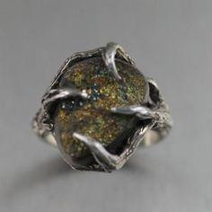 Handmade Sterling Silver Tree Branch Ring Featuring Pyrite #DesignerRings http://www.handmade-rings.com/silver-rings/handmade-sterling-silver-tree-branch-ring-featuring-pyrite/