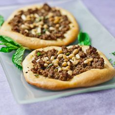 Turkish Meat Pies with Arabic spice mix, mint and pine nuts.