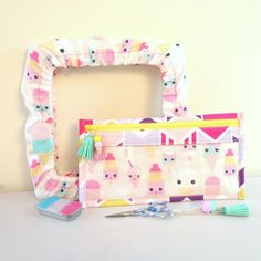 A super cute gift set handmade with love by Floss Candy. Made To Order. This is the  Two Scoops Gift Set. This Set includes;  Grime Guard; https://www.etsy.com/uk/listing/464401002/grime-guard-for-q-snap-ice-cream-cross?ref=shop_home_active_8 Notions Case; https://www.etsy.com/uk/listing/464403330/notions-case-ice-cream-and-chevrons?ref=shop_home_active_5 Resin Ice Cream Needle Minder; https://www.etsy.com/uk...
