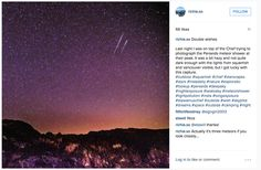 """""""Last night I was on top of the Chief trying to photograph the Perseids meteor shower at their peak. It was a bit hazy and not quite dark enough with the lights from squamish and vancouver visible, but I got lucky with this capture.""""    (Photo: @richie.so)"""