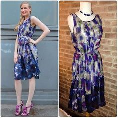 Adrianna-Papel-Purple-Floral-Print-SUMMER-SUNDRESS-Chiffon-Belt-Full-Skirt-S-M  #Shop this and other amazing pieces from my #blog closet on my #eBay store www.ShopGingersCloset.com