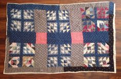 "Vintage Antique Crib Quilt Flour Feed Sack Hand Quilted 9 Square 32""x 47"", eBay, kgb111162"