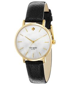 Big city style in a pretty package from kate spade new york's Metro watch collection. | Black leather strap | Round gold-tone stainless steel case, 34mm | Mother-of-pearl dial with gold-tone stick ind