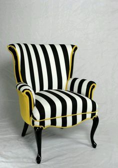 Projects Design Black And White Striped Chair Stripe With Yellow Velvet Vintage Wing Back - Chair Ideas Funky Furniture, Furniture Makeover, Painted Furniture, Home Furniture, Furniture Design, Furniture Chairs, Striped Furniture, Furniture Catalog, Painted Wood