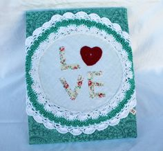 Canvas LOVE doily crochet wallhanging by salvageeighteen on Etsy, $28.00