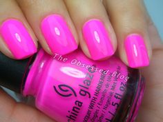 Nail colors China Glaze Sunsational – Part 1 – The Obsessed What are the most popular wedding favors Fabulous Nails, Perfect Nails, Hot Pink Nails, Pink Shellac Nails, Acrylic Nails, China Glaze Nail Polish, Manicure Y Pedicure, Colorful Nail Designs, Nail Polish Colors