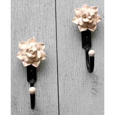 Pair of Cream Ceramic Rose Hooks