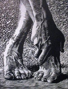 """""""Dancer's feet"""" - linocut on paper - from Steven Burke's photostream (not clear if Steven Burke created this or 'merely' photographed it....could someone confirm please? I like to credit the actual artist) http://www.flickr.com/photos/steve-n-leona/ Tags: Linocut, Cut, Print, Linoleum, Lino, Carving, Block, Woodcut, Helen Elstone, Feet, Hand, Dancing, Ballet."""