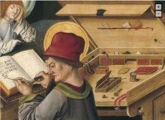 Close up of scribe's desk and tools Gabriel Mälesskircher Saint Matthew the Evangelist 1478