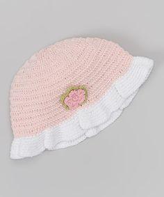 Love this Baby Pink & White Flower Crocheted Sunhat on #zulily! #zulilyfinds