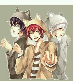 Reiji, Ayato, and Subaru Sakamaki - Diabolik Lovers - Neko. Girls Anime, Hot Anime Guys, Cute Anime Boy, I Love Anime, Anime Neko, Kawaii Anime, Subaru Sakamaki, Reiji Sakamaki, Vampires