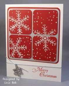 handmade card ...  Christmas Snow Cookies_lb by Clownmom ... red and white with silver accents ... four patch of rounded corner inchies .. stamped snowflakes overlap edges in split panel style ... luv the bright and  crisp look ... Stampin' Up!