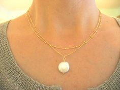 Pearl Necklace, Layered Beaded Gold Filled Chain with Coin PearlBridesmaids Jewelry, Bridal Jewelry. $49.00, via Etsy.