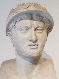 Portrait bust of the ancient Greek General Pyrrhus of Epirus from the Villa of the Papyri in Herculaneum,Ancient Rome