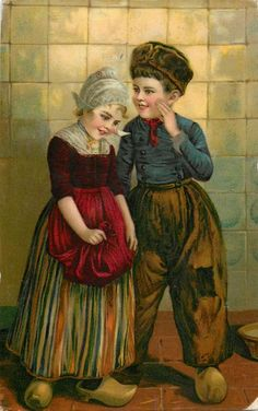 Dutch boy and girl, girl holds red apron with both hands, boy has left hand by his left cheek