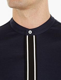 Paul Smith,Navy Woven Cotton Granddad Shirt,BLACK,4