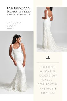 The Carolina Gown features a fit-and-flare design, floral embroidered tulle, scoop neck  bustier and full-length dramatic train. Fully customizable and available in sizes 00-30.