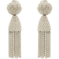 Oscar de la Renta Silver Chain Tassel Earrings ($375) ❤ liked on Polyvore