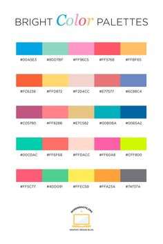 Bright Color Palette for Graphic Web Print Design Wondernote Rgb Palette, Hex Color Palette, Color Schemes Colour Palettes, Pastel Colour Palette, Colour Combinations, Summer Color Palettes, Website Color Palette, Couleur Html, Couleur Hexadecimal