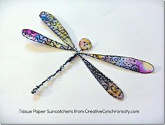 wire and tissue paper dragon fly