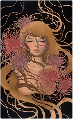 Audrey Kawasaki Things Unsaid oil, ink, and graphite on wood 16 Scope Basel art fair with Thinkspace Gallery 2013