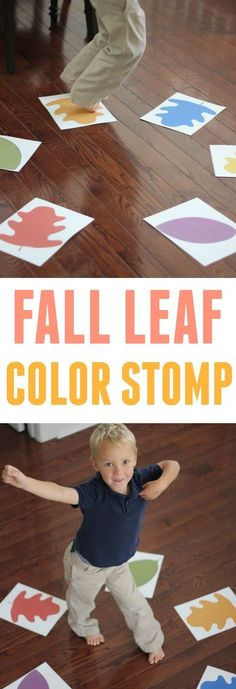 Fall Leaf Color Stomp for Toddlers Toddler Approved!: Fall Leaf Color Stomp for Toddlers Fall Leaf Color Stomp for Toddlers Toddler Approved!: Fall Leaf Color Stomp for Toddlers Harvest Activities, Fall Activities For Toddlers, Lesson Plans For Toddlers, Apple Activities, Color Activities, Movement Activities, Toddler Crafts, Preschool Crafts, Abc Crafts