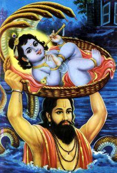 Vasudeva smuggles Baby Krishna away from the evil Kamsa's palace.