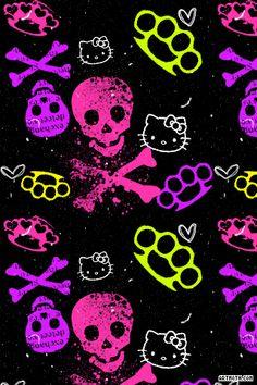 1342 Cross Bones And Hello Kitty Iphone Wallpaper