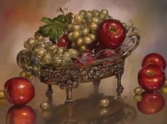 Apple Painting, Still Life, Decorative Bowls, Home Decor, Dish Towels, Dishes, Model, Hyperrealism, Wine Cellars