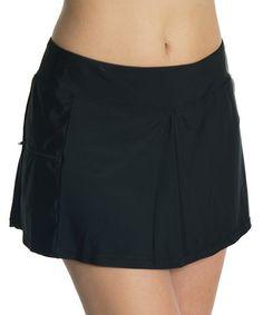 Look at this #zulilyfind! Black Pocket Skirted Bikini Bottoms #zulilyfinds