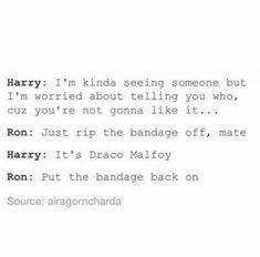 Bandage back on Drarry funny Harry Potter Harry Potter Puns, Images Harry Potter, Harry Potter Draco Malfoy, Harry Potter Ships, Harry Potter Tumblr, Harry Potter Universal, Harry Potter World, Draco Malfoy Imagines, Hogwarts