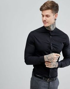 Shop ASOS DESIGN stretch skinny shirt in black with grandad collar. With a variety of delivery, payment and return options available, shopping with ASOS is easy and secure. Shop with ASOS today. Camisa Rock, Chinese Collar Shirt, Black Shirt Outfit Men, Grandad Collar Shirt, Asos, Stylish Mens Fashion, Herren Outfit, Fashion Night, Men's Fashion