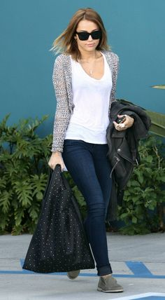 Jeggings, White Tee and Grey Sweater, Toms and Leather Jacket.