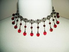 ART DECO Bookchain NECKLACE Czech GLASS Garnet Red BEAD Dangles Silver Plated #artjewelryforyou