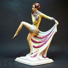 Art Deco Porzellan Figur Tänzerin • Steatyt ZB Katowice • um 1930