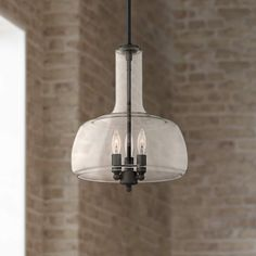 This bronze LED pendant light features a vintage schoolhouse-style glass shade with delicate curves. 23 high x wide. Canopy is wide. Glass is 6 high x wide. Style # at Lamps Plus. Dining Room Light Fixtures, Hanging Light Fixtures, Kitchen Pendant Lighting, Kitchen Pendants, Ceiling Light Fixtures, Ceiling Lights, Sloped Ceiling, Bronze Pendant Light, Mini Pendant Lights