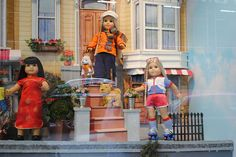 Julie & Ivy in San Francisco townhouse diaplay -American Girl Place window by lovefeasttable, via Flickr