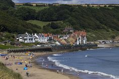 Sandsend near Whitby on the Yorkshire coast. Yorkshire Dales, North Yorkshire, Whitby England, Northern England, Over The Hill, Great Britain, Seaside, The Best, Cities