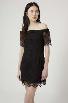 NEW TOPSHOP BLACK OFF THE SHOULDER LACE BARDOT DRESS PARTY 6 to 16 RRP £46