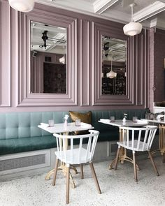 Our motto: Work hard, brunch harder. Small Restaurant Design, Coffee Shop Design, Cafe Design, Architecture Restaurant, Interior Architecture, Bar Deco, Pastel Interior, Restaurant Interior Design, Resturant Interior