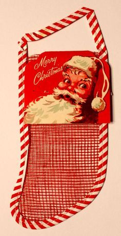 Christmas Stocking Card SANTA Tag NOS Mesh Stocking for sale - Google Search