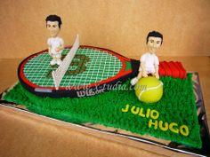 Cake raqueta de tenis y gemelos