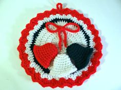 Vintage Handmade Crocheted Holiday Wall Décor / Potholder with 3 Jingle Bells by TimelessTreasuresbyM on Etsy